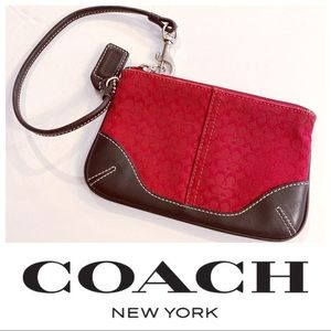 Coach Red and Brown leather wristlet #GWB4